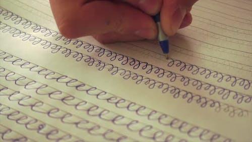 Young Schoolboy Write, Teaching Writing Skills, Handwriting.