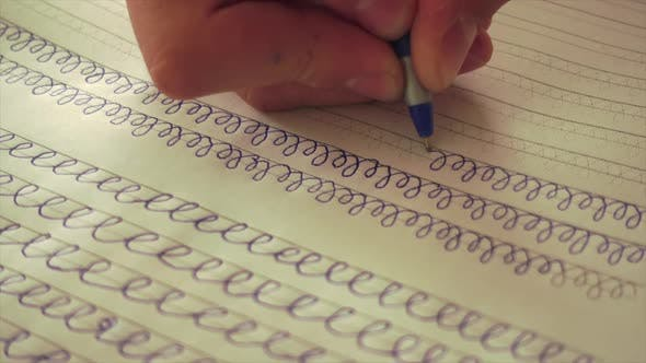 Thumbnail for Young Schoolboy Write, Teaching Writing Skills, Handwriting.