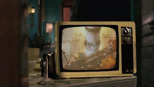 Apollo 11 launch on a Vintage TV.