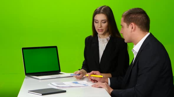 Thumbnail for Colleagues Discussing Working Moments in the Office. Green Screen