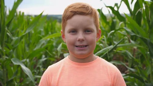 Close Up of Little Smiling Redhaired Boy with Freckles Looking Into Camera Against the Background of