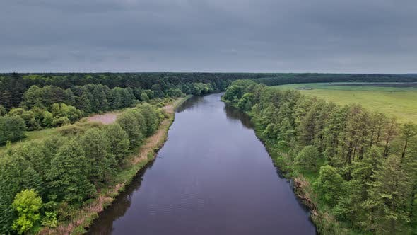 Top View of the River Surrounded By Trees and Meadows