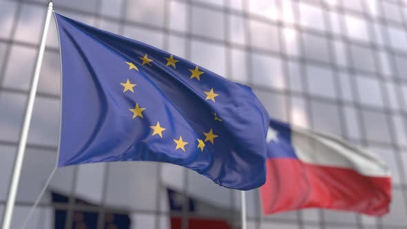 Waving Flags of the European Union and Chile