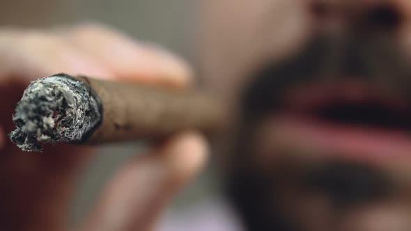 Thumbnail for Closeup of Burning Cuban Cigar End, Bearded Man Enjoying Smoke, Bad Habit