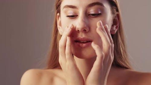 Morning Makeup Beautiful Woman Soft Skin Care