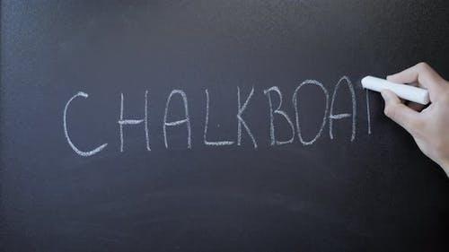 Kreidetafel. Word Tafel auf Tafel geschrieben