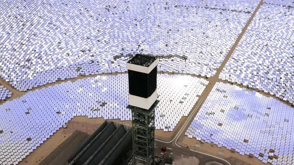Thumbnail for Aerial Flight Around Solar Power Tower, Nevada,  Aerial