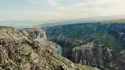 Aerial View of Sulak Canyon Which is One of the Deepest Canyons in the World