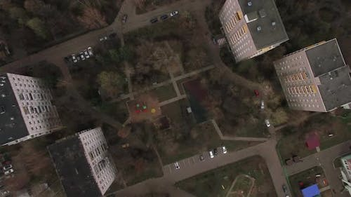 Flying Over the Yard of Apartment Blocks in Moscow