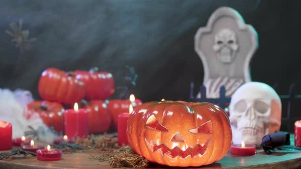 Thumbnail for Spooky Halloween Still Life on a Black Background