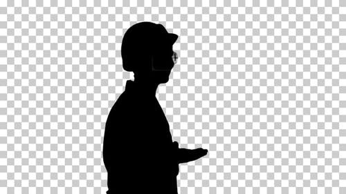 Silhouette scientist in lab coat and hardhat walking, Alpha Channel