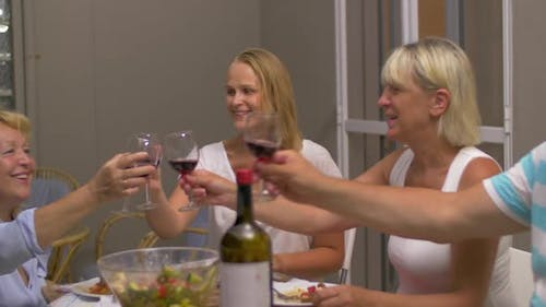 Evening Meal with Wine in Family Circle