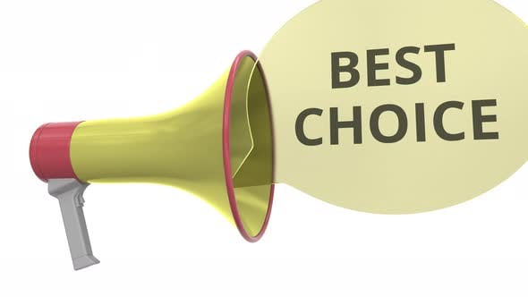 Thumbnail for Yellow Megaphone with BEST CHOICE Message on Speech Bubble