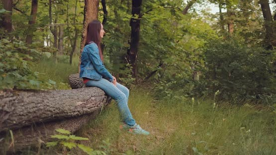 Beautiful Girl Sits on a Log in the Forest and Looks Into the Distance