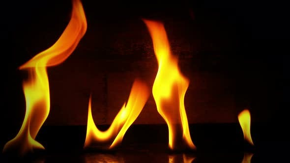 Thumbnail for Fire Burning and Wooden Background 4