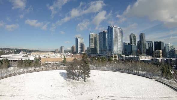 Thumbnail for Aerial Hitchcock Zoom On Snow Covered City Park Skyline