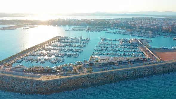 Thumbnail for Aerial View Marina with Sail Boats