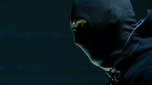Masked Robber Portrait. Caucasian Terrorist or Theft