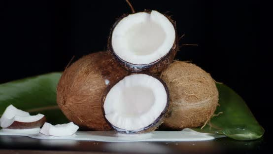 Coconuts with Spilled Coconut Milk Slowly Rotate.