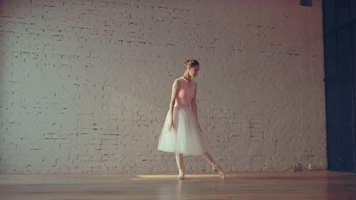 Ballerina Dancing in the Hall Rehearsal