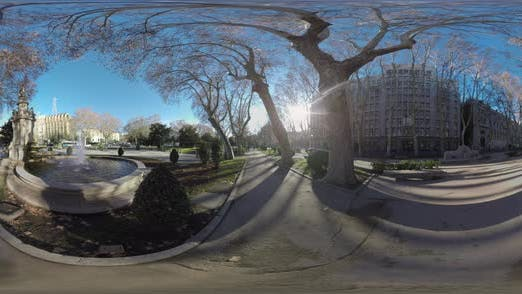 Thumbnail for 360 VR City View with Apollo Fountain on Paseo Del Prado in Madrid, Spain