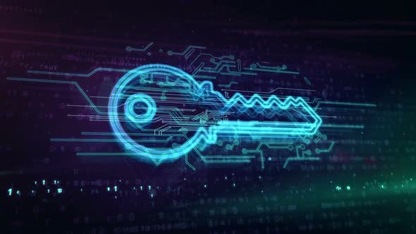 Key cyber security symbol abstract loopable animation