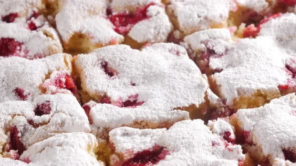 Thumbnail for Cherry cake sliced on pieces close-up 4K 3840X2160 UHD slow panning  video - Pieces on tasty cherry