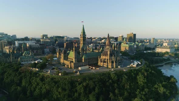 Thumbnail for Aerial shot of the Parliament of Canada, in Ottawa