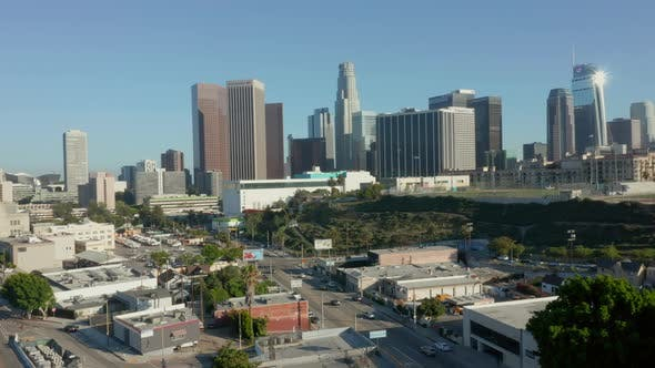 Thumbnail for AERIAL: Flying away from Downtown Los Angeles, California Skyline at beautiful blue sky