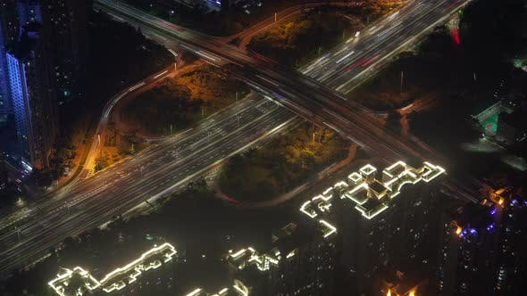 Thumbnail for Shenzhen Urban Cityscape Aerial Road Traffic Panorama Timelapse at Night Pan Up