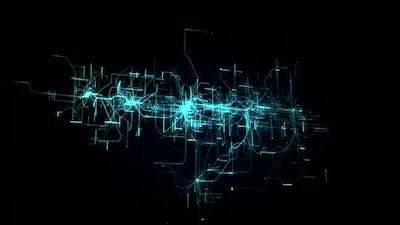 3d digital connection lights animation