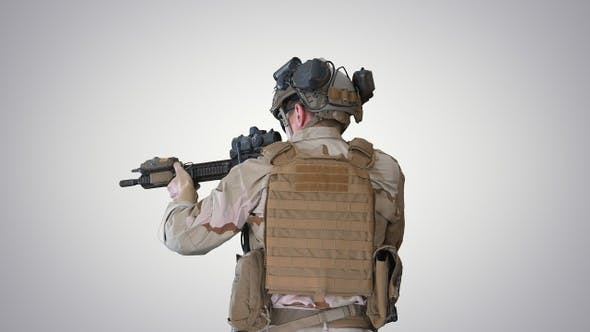 Thumbnail for United states ranger walking with assault rifle on gradient