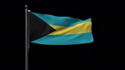 Bahamas Flag On Flagpole With Alpha Channel 4K