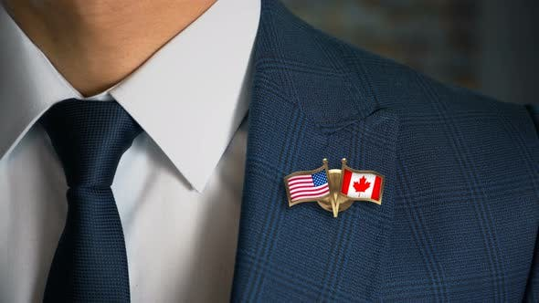 Thumbnail for Businessman Friend Flags Pin United States Of America Canada