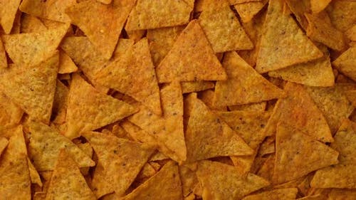 Tortilla Chips top view rotation, Snack Crunchy Tortilla Chips