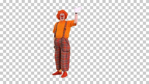 Clown walking in and saying hello waving, Alpha Channel