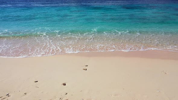 Thumbnail for Wide angle birds eye abstract view of a paradise sunny white sand beach and turquoise sea background