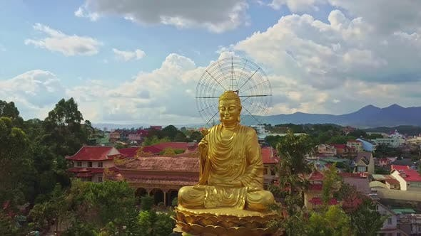 Thumbnail for Flycam Shows Wonderful Golden Buddha Statue