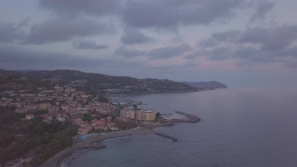 Coast Shore City Town at Sunset Aerial View