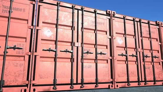 Thumbnail for Row of Red Cargo Shipping Containers