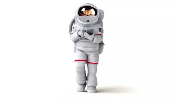 Fun 3D cartoon astronaut with a phone