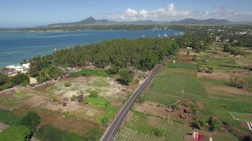 Aerial view of coast on Mauritius Island