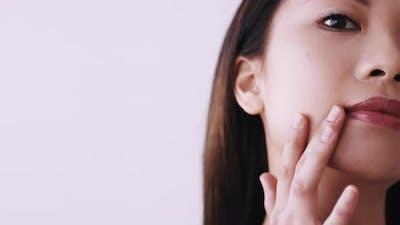 Korean Beauty Facial Skincare Woman Touching Skin