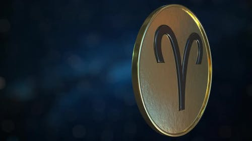Gold Token with Aries Zodiac Sign