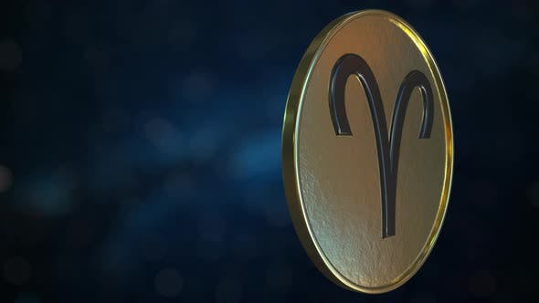 Thumbnail for Gold Token with Aries Zodiac Sign