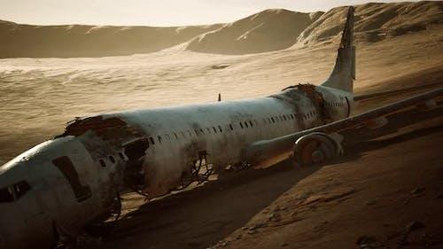 Abandoned Crushed Plane in Desert