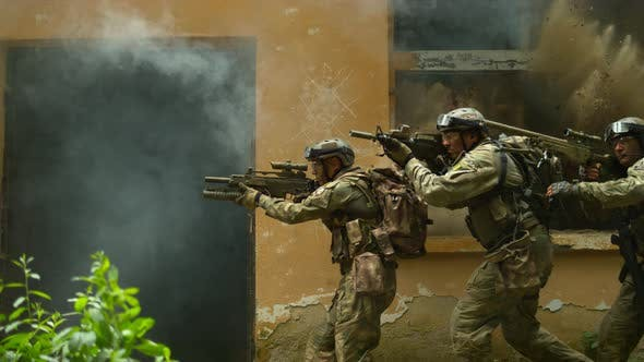 Thumbnail for Military action, slow motion