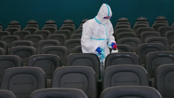 Man Cleansing Spray for Disinfecting Cinema Hall