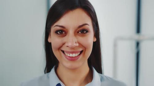 Close Up Portrait of a Successful Woman Smiling