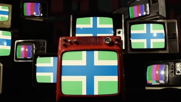 Flag of Gloucestershire, UK, on Retro TVs.
